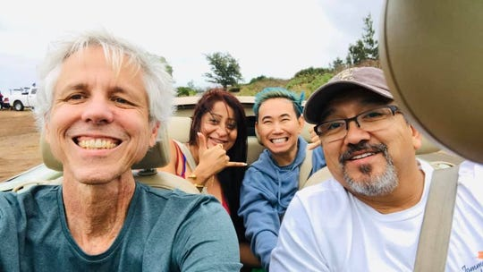 Bobby Pin (back right) visited Hawaii in 2019 with his partner, Dan Greening (front left) and met up with their friends Tom and Divya Maez.