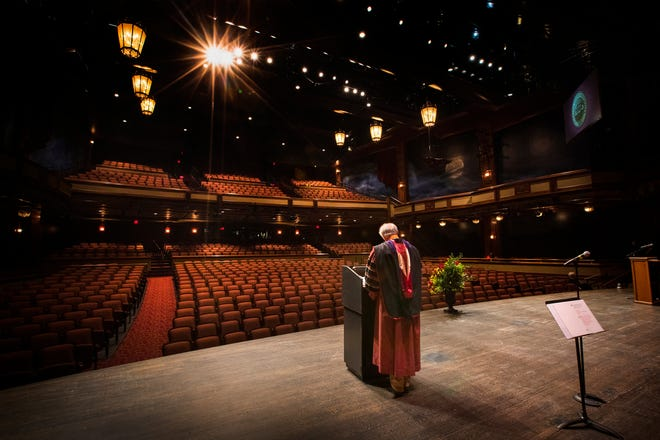 "FSU President John Thrasher addresses graduates in an empty Ruby Diamond Concert Hall for the ""virtual "" graduation ceremony broadcast on May 2, 2020."