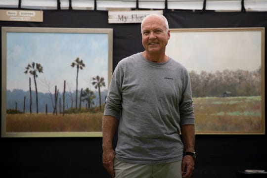 After his art show, which was scheduled for this weekend in Sanford, was canceled, Steve Andrews decided to have his own art show in the front yard of his Sleepy Hollow Circle home Sunday, May 3, 2020.