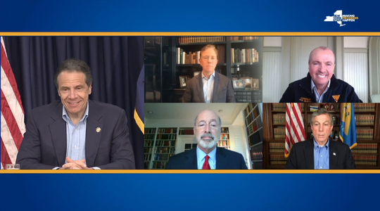 New York Gov. Andrew Cuomo is joined by video by Connecticut Gov. Ned Lamont, New Jersey Gov. Phil Murphy, Pennsylvania Gov. Tom Wolf and Delaware Gov. John Carney at his daily coronavirus briefing; May 3, 2020.