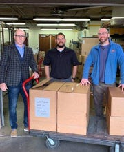 United Regional Health Care System workers receive donated face shields and intubation chambers April 17. Wichita County district attorney's Chief Investigator Tye Davis, far left, volunteered to deliver the items to help fight the COVID-19 pandemic.