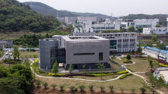 An aerial view shows the Wuhan Institute of Virology in China's central Hubei province on April 17, 2020.
