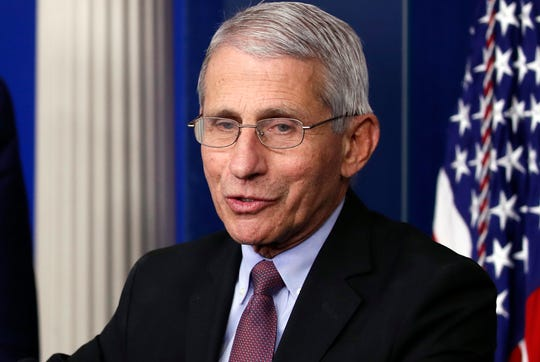 Dr. Anthony Fauci, director of the National Institute of Allergy and Infectious Diseases, speaks about the coronavirus in the James Brady Press Briefing Room of the White House.