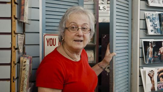 "Karen Mason in a scene from the 2020 Netflix documentary ""Circus of Books."""
