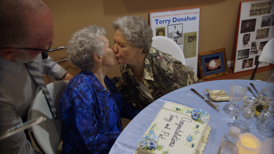 """Terry Donahue and Pat Henschel in a scene from the Netflix documentary """"A Secret Love."""""""