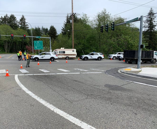 A detour was in place near the crash site on Highway 3 in Gorst Monday morning.