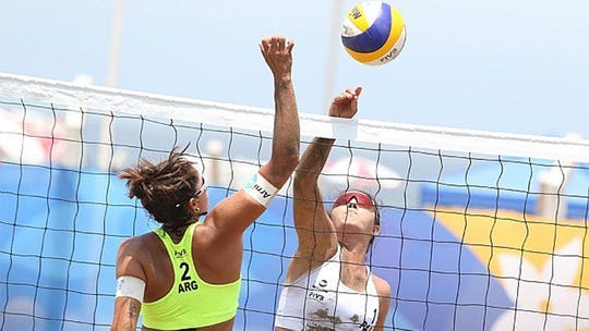 Texas A&M-Corpus Christi beach volleyball freshman Giuliana Poletti Corrales competed in one Olympic qualifier for her native Paraguay before the COVID-19 pandemic shut down competition.