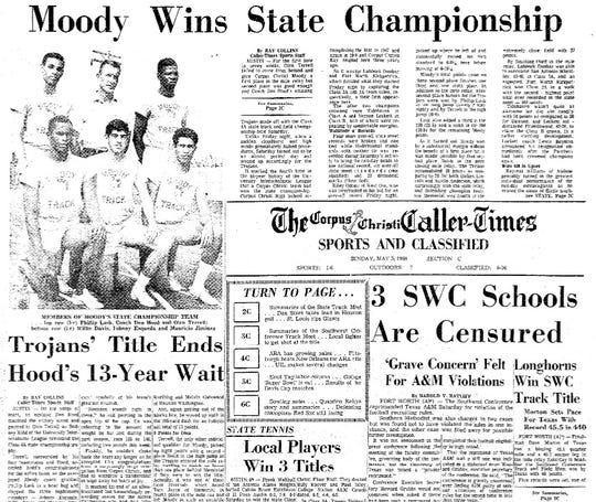 The Caller-Times sports section after Moody claimed the 1968 UIL Class 4A State Track and Field championship in the first year the school existed.