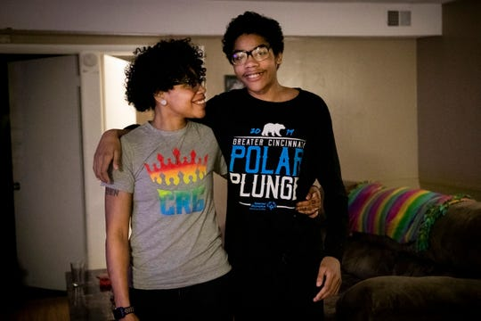Jas Hubbard, of Carthage in Cincinnati, smiles at her son, Jayden, 14, on February 26. Hubbard had her son, Jayden, when she was a student at Campbell County High School. Hubbard is skater with the Cincinnati Rollergirls, and Jayden is her biggest fan.