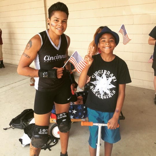 Jas Hubbard has been a member of the Cincinnati Rollergirls since 2015. Her son, Jayden, is her biggest fan, coming to almost all of her practices and games.