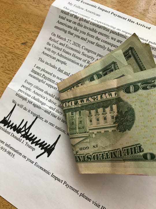 Economic Impact Payment letters arrive in the regular mail to tell people how much money they will get as a household under the CARES Act. The letter is signed by President Donald J. Trump.