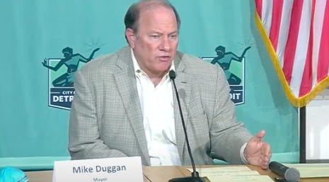 Detroit Mayor Mike Duggan speaks at a city press conference on the coronavirus Monday, May 4, 2020.