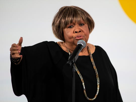 In a Tuesday, Oct. 29, 2019 file photo, Mavis Staples performs during the Obama Foundation Summit at the Illinois Institute of Technology in Chicago.