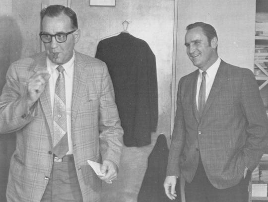 Lions defensive coordinator Don Shula is shown here with head coach George Wilson in the early 1960s.
