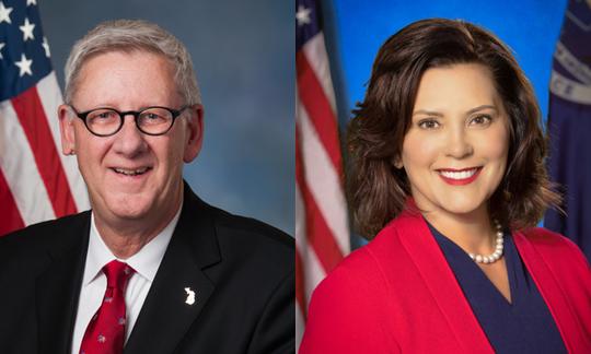 U.S. Rep. Paul Mitchell, R-Dryden, and Gov. Gretchen Whitmer, a Democrat, are pictured.