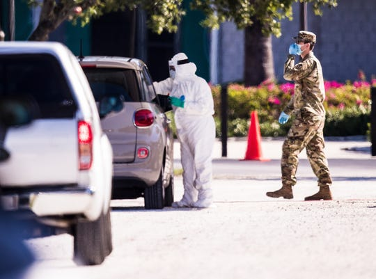 A drive-thru COVID-19 testing site was started at Century Link Sports Complex in Fort Myers on Monday, May 4, 2020. Collections will start at 9 a.m. and last until 5 p.m for an indefinite period of time. Hundreds of cars lined up to get testing from the site managed by the National Guard.