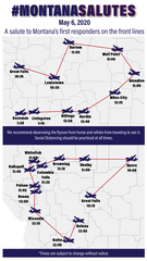 The above map shows the time and place for the flyover salute in various Montana towns.