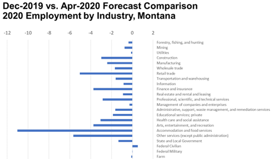 The only sector that escapes job declines in Montana in 2020 is the federal government.