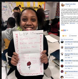 Leighton Hill, 11, is pictured in this Facebook post by Abigail Lenz Allen on Sunday, May 4, 2020. Leighton was killed Saturday May 3, 2020, when a motorist hit her and her mother on a Hattiesburg, Miss., street.