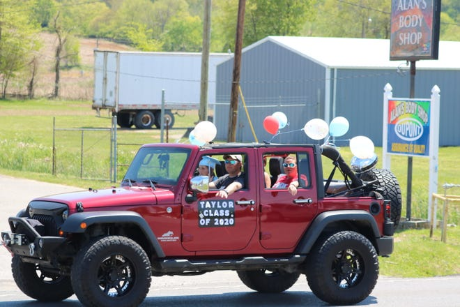 Taylor Windell and her family rode through town in their decked out jeep to celebrate Taylor's graduation from UCHS.