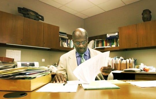 University of Iowa dean of students Phillip Jones in his office on August 5, 2003.