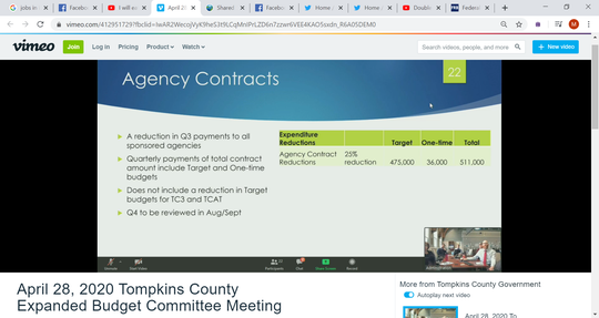 Tompkins County could reduce its third quarter payments to its sponsored agencies by 25%.