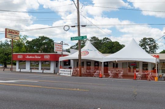 Judice Inn adds tent in parking lot to serve customers outdoors. Monday, May 4, 2020.