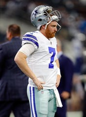 Cooper Rush #7 of the Dallas Cowboys stands on the field during warm-ups before the game against the Jacksonville Jaguars at AT&T Stadium on October 14, 2018 in Arlington, Texas.