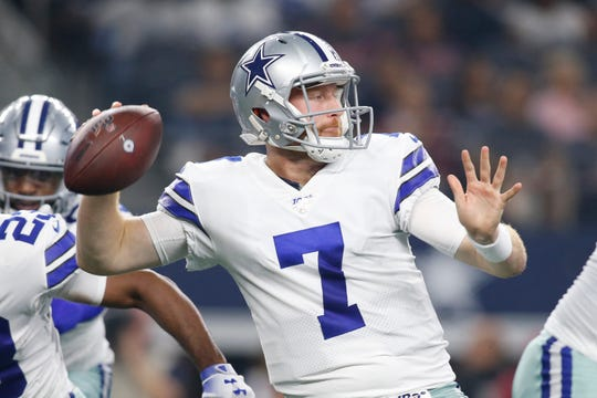 Aug 24, 2019; Arlington, TX, USA; Dallas Cowboys quarterback Cooper Rush (7) throws a pass in the second quarter against the Houston Texans at AT&T Stadium.