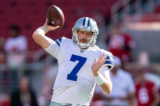 August 10, 2019; Santa Clara, CA, USA; Dallas Cowboys quarterback Cooper Rush (7) before the game against the San Francisco 49ers at Levi's Stadium.