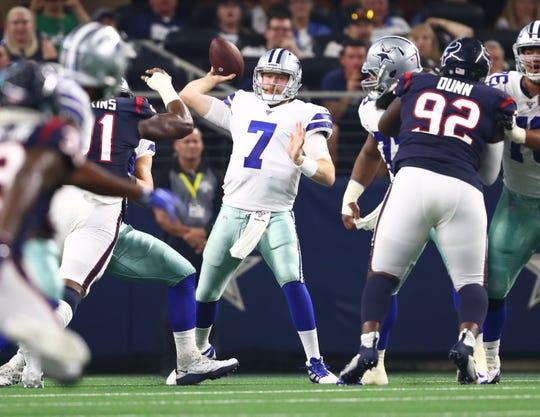 Aug 24, 2019; Arlington, TX, USA; Dallas Cowboys quarterback Cooper Rush (7) throws in the pocket against the Houston Texans at AT&T Stadium.