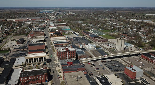 View of the Marion, Ohio downtown area photographed April 27, 2020