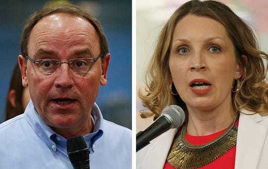 Republican Tom Tiffany, left, and Democrat Patricia Zunker, right, are competing for an open seat in Wisconsin's 7th Congressional District.