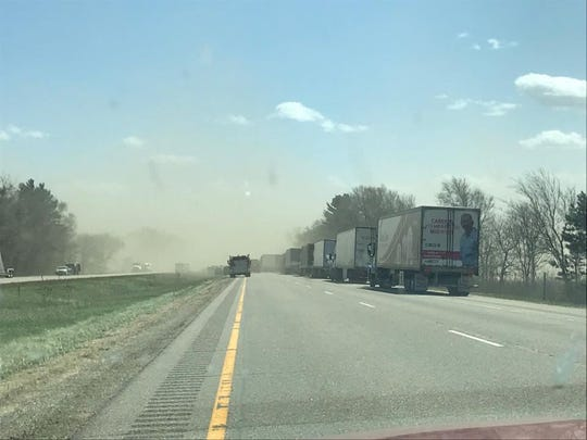 Blowing dust caused a chain reaction accident on I-39 near Plainfield Sunday.