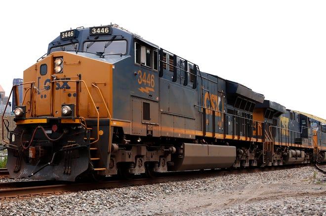 A CSX freight train.
