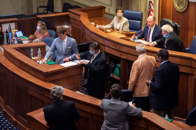 Lt. Gov. Will Ainsworth as the Alabama Senate restarts the session at the State House in Montgomery, Ala., on Monday, May 4, 2020.