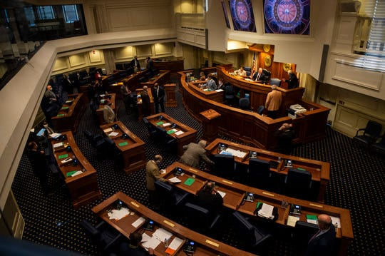 The Alabama Senate restarts the session at the State House in Montgomery, Ala., on Monday, May 4, 2020.