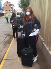 Gracie Dale outside of Cusco airport with U.S. Embassy officials on Wednesday, April 29.