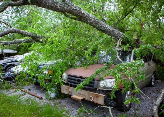Trees and power lines were downed across Rutherford County after a storm blew through the area on Sunday, May 3, 2020.