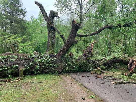 At least 27 roadways were blocked after the storm on May 3 caused power outages and the damage to a Brentwood police car.