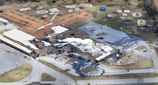 Stoner Creek Elementary School after a tornado touched down in Mt. Juliet, Tenn. Tuesday, March 3, 2020.
