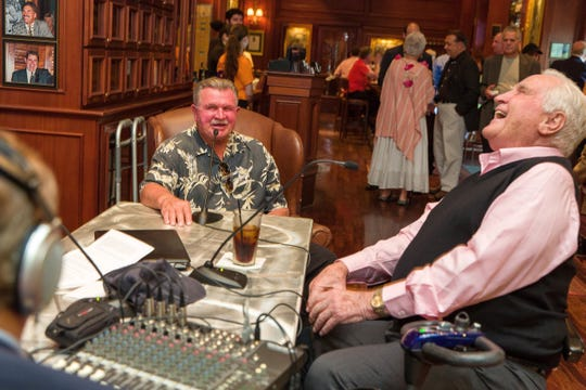 On March 20, 2013, Pro Football Hall of Famers Mike Ditka, left, and Don Shula give a radio interview before a dinner to feature Ditka's wines at Shula's Steak House at the Hilton Naples. Shula, the former Dolphins coach, died on Monday, May 4, 2020.