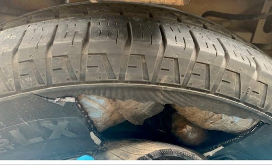This tire contained 42.5 pounds of methamphetamine with a street value of $1,360,000.