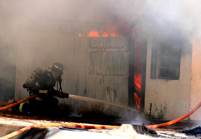 Deming firefighters battled a mobile home blase early Sunday evening at the 700 block of E. Poplar Street.