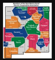 A map showing New Mexico rural electric cooperatives.
