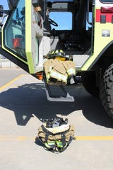 Four Corners Regional Airport showcases its new fire and rescue safety gear, seen here on Monday, May 4, 2020, in Farmington, which it received through a $37,500 federal grant.