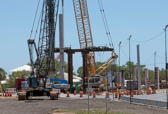 Construction on the replacement bridge over Pensacola Bay continues on Monday, May 4, 2020.