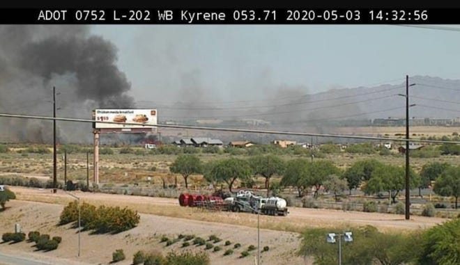 There was a small brush fire off the Loop 202 near Kyrene Road in Chandler on May 3, 2020.