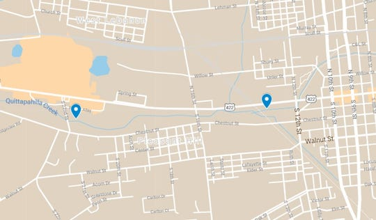 A map with points showing the rough locations where the bodies of the two men were found. Kenneth Santiago was found near the Quittapahilla Creek underneath a building at 1352 Cumberland Street, and Alexander Hernandez was found in the creek, east of 22nd Street in North Cornwall Township.