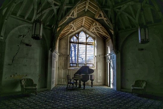 """Liz Cooke's photography, """"Convalescent Home Piano Room,"""" shows items that are left behind in abandoned buildings."""